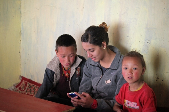 The children at the home-stay were fascinated by my smartphone.