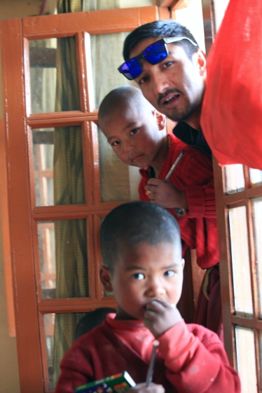 Galdan with students at the Monastery school