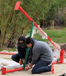 Installing the playground at Matho village, Ladakh, in the summer of 2016.